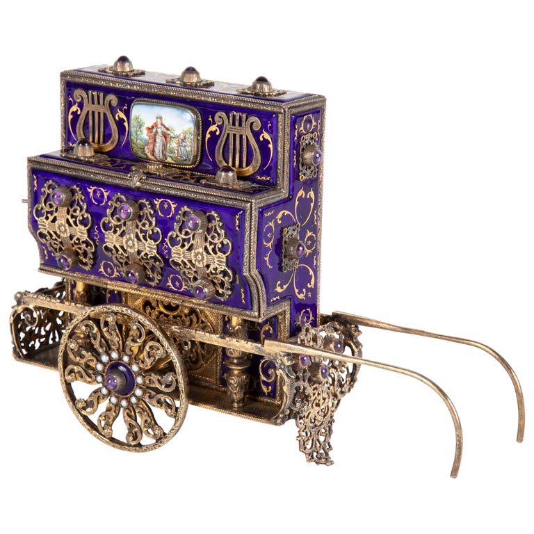 Antique Swiss Music Box in Organ Grinders Cart Form by Charles Reuge For Sale