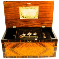 Antique Swiss Music Box Three Bells in Sight 8 Airs 19th Century