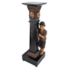 Antique Swiss or German Black Forest Styled Hand-Carved & Painted Pedestal