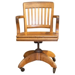 Antique Swivel Oak Desk Chair, circa 1940