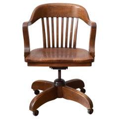 Antique Swivel Oak Desk Chair, circa 1940