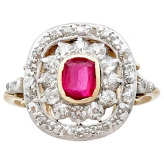 Antique Synthetic Ruby and Diamond Yellow Gold Dress Ring