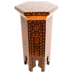 Antique Syrian Damascus Inlaid Hexagonal Occasional Table, Early 20th Century