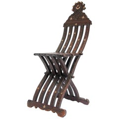 Antique Syrian Inlaid Folding Chair 19th Century
