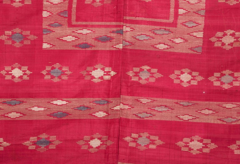 Hand-Woven Antique Syrian Silk Textile from Aleppo For Sale