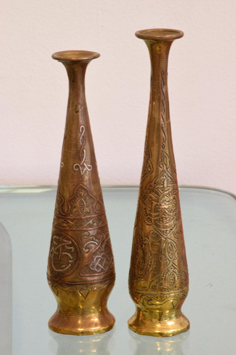 19th Century Antique Islamic Syrian Single Flower Vases, Set of Five For Sale 8