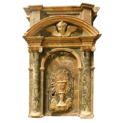 Antique Tabernacle in Lacquered and Gilded Wood, 16th Century, Italy