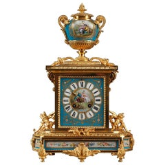 Antique Table Clock in Ormolu and Porcelain with Landscapes and Galant Scenes
