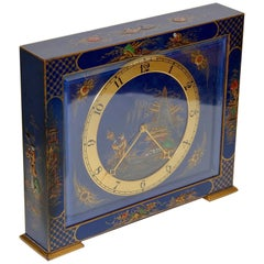 Antique Table Desk Clock, Painted, Chinoiserie, China Art