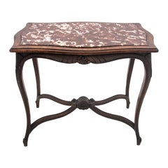 Antique Table in the Rococo Style with a Stone Top from Around 1900