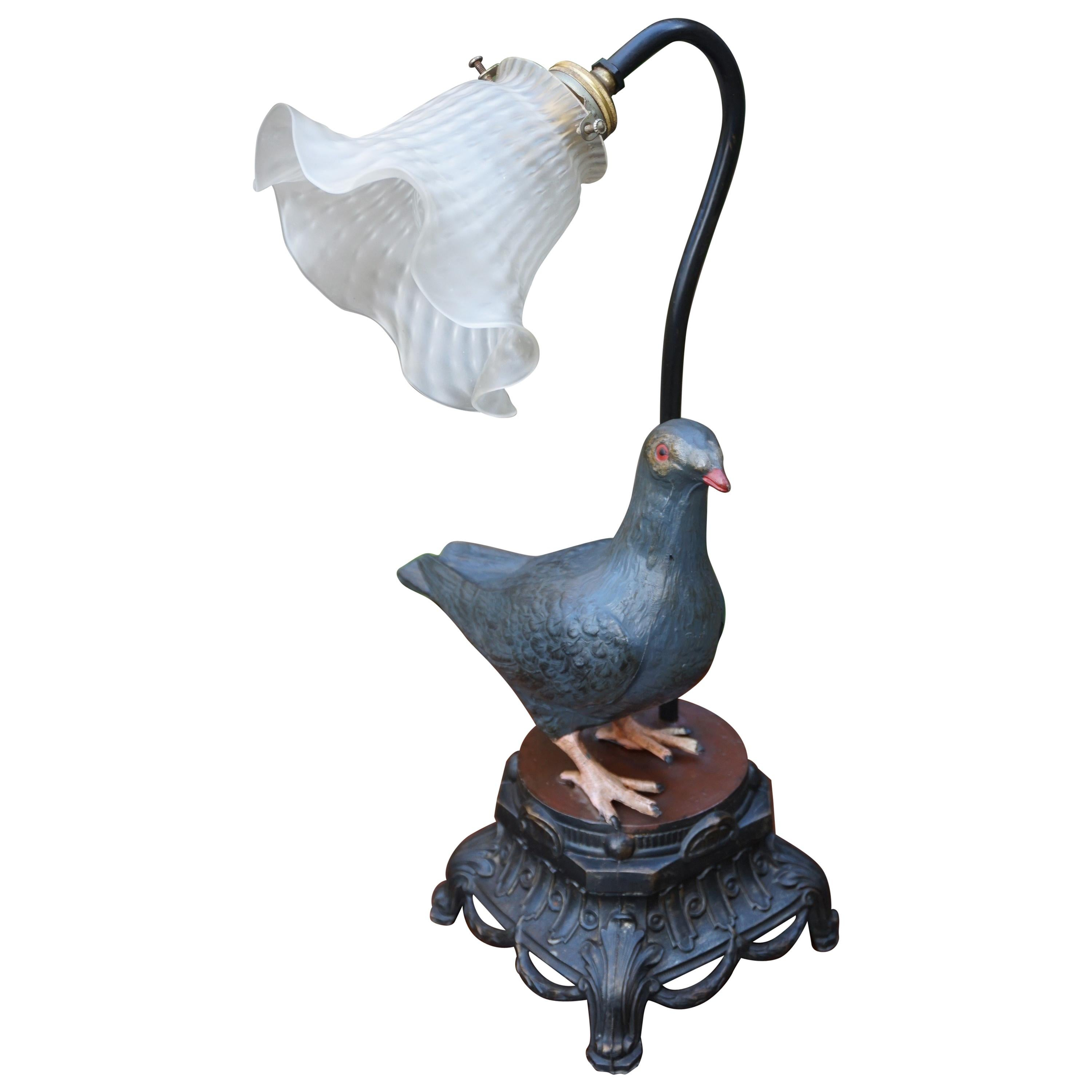Antique Table or Desk Lamp with Symbolic Dove Sculpture and Flowery Shade
