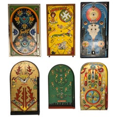 Antique Table Top Pinball Game Board Collection, Set of 6, circa 1920-1940