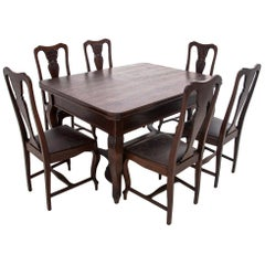 Antique Table with Chairs, Western Europe, circa 1920, after Renovation