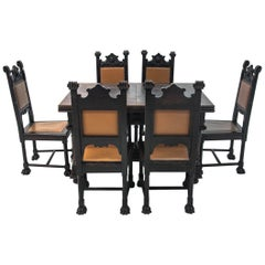 Antique Table with Dining Room Chairs from circa 1880 in the Renaissance Style