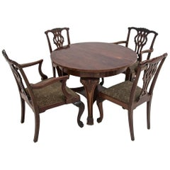 Antique Table with Two Armchairs and Two Chairs on Lion Feet