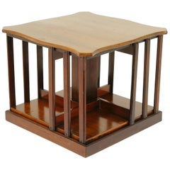 Antique Tabletop Revolving Bookcase, Walnut Bookstand, Scotland 1900, B1640