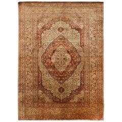 Antique Tabriz Beige and Pink Silk Persian Rug