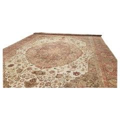 Antique Tabriz Carpet, Hadji Jalili Persian Rug, Earth Tones, Light Blue, Coral