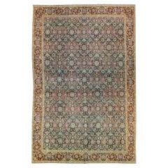 Antique Tabriz Handmade Multicolor Botanical Designed Oversize Gray Wool Rug