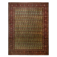 Antique Tabriz Paisley Green and Red Wool Persian Rug