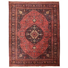 Antique Tabriz Persian Carpet in Red and Indigo, circa 1920