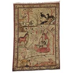 Antique Tabriz Persian Pictorial Rug, Persian Tabriz Wall Hanging