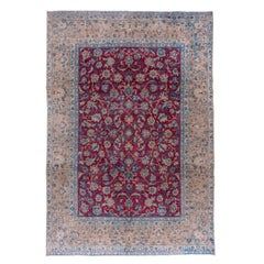 Antique Tabriz Rug, Bright Raspberry Allover Field, Baby Blue and Peach Borders