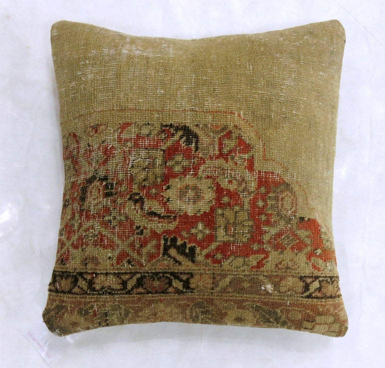 American Classical Antique Tabriz Rug Pillow For Sale