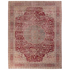 Antique Tabriz Rug Red Beige and Blue Medallion Style Persian Floral