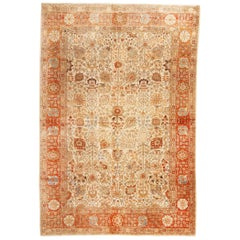 Antique Tabriz Traditional Red and Beige Wool Persian Rug