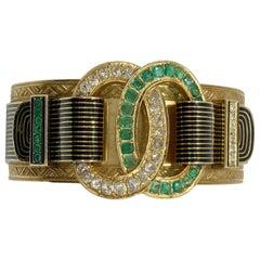 Antique Taille D'Epargne Emerald Diamond Buckle Bracelet