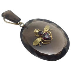 Antique Talisman Pendant Heart Shaped Garnet Bug on Faceted Natural Smokey
