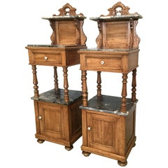 Antique, Tall and High Top Solid Oak Bedside Cabinets with Marble Top and Drawer