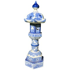 """Antique Tall """"Birds & Waves"""" Blue and White Lantern Candles 19th Century Lovely"""