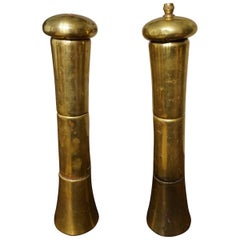 Antique Tall Brass Salt and Pepper Grinders, Italy