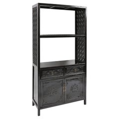Antique Tall Chinoiserie Lacquered Display Shelf Cabinet with Fretwork