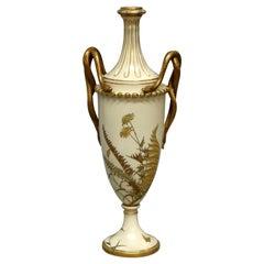 Antique Tall & Figural Royal Worcester Gilt Porcelain Snake Handle Urn, c1870