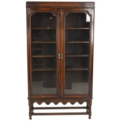 Antique Tall Oak 2-Door Cabinet Bookcase Display Cabinet, Scotland, 1920