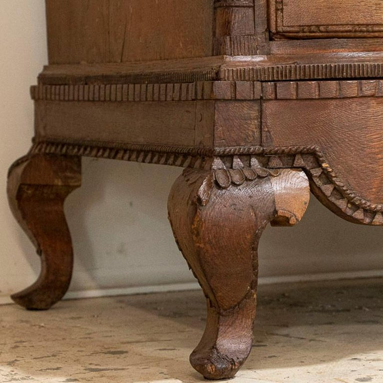 18th Century Antique Tall Oak Chest of Drawers For Sale