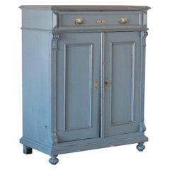 Antique Tall Original Blue Painted Sideboard from Sweden