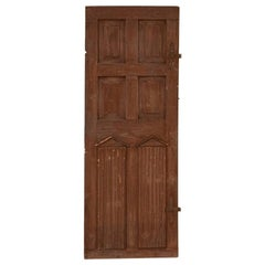 Antique Tall Original Brown Painted Door with Architectural Carved Elements