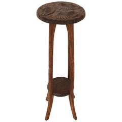 Antique Tall Plant Stand, Liberty's London, Carved Mahogany, Japan, 1905