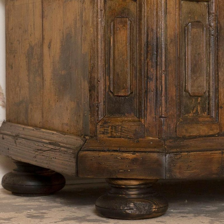 Wood Antique Tall Single Door Armoire with Drawer For Sale
