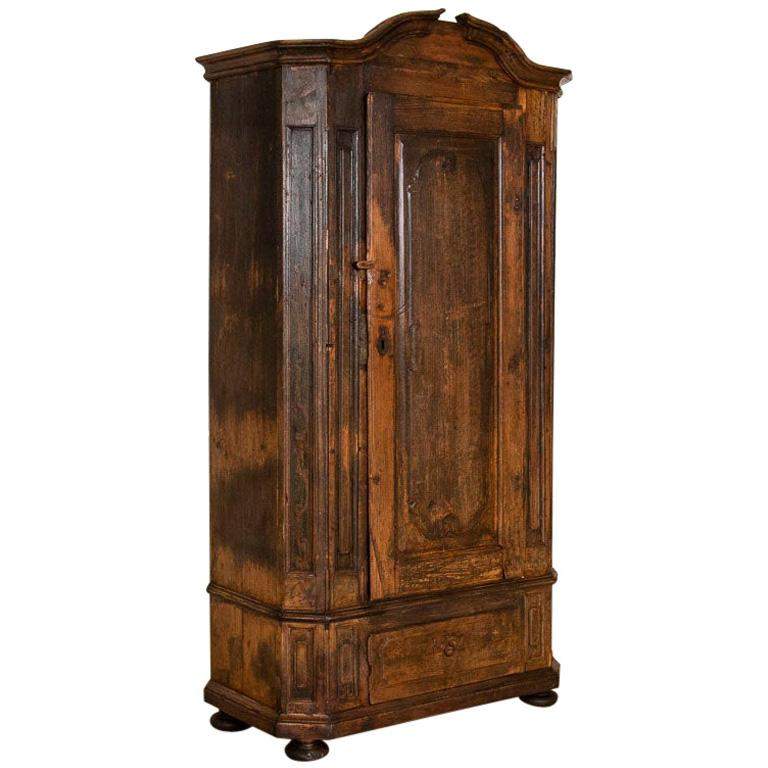 Antique Tall Single Door Armoire with Drawer For Sale