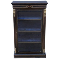 Antique Tall Victorian C1890 Aesthetic Inlaid and Ebonised Display