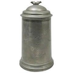 Antique Tankard in Pewter with Billiard Engraving, 1866