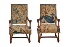 Antique, Tapestry Covered French Armchairs