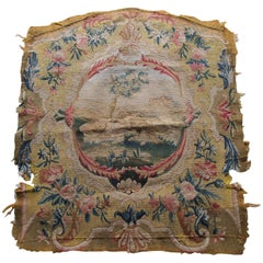 Antique Tapestry Fragment Picturing Center Oval Medallion with Bucolic Scene