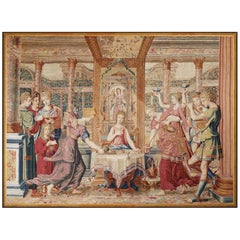 "Amazing Antique Tapestry from Paris Manufacture, ""Psyché's Dinner"""