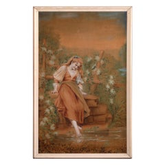 Antique Tapestry Oil Painting of Young Lady, Circa 1900